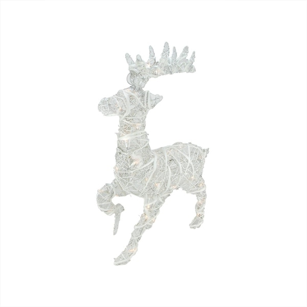 """30"""" Lighted White Glittered Rattan Reindeer Outdoor Christmas Decoration"""