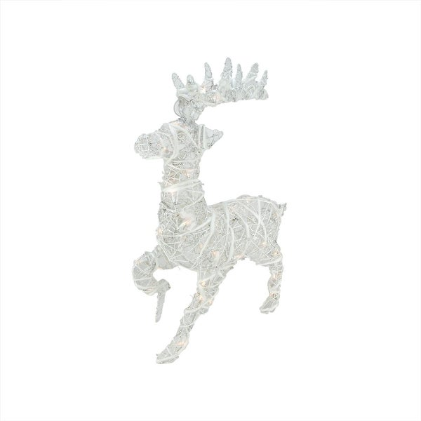 """30"""" Lighted White Glittered Rattan Reindeer Christmas Outdoor Decoration"""