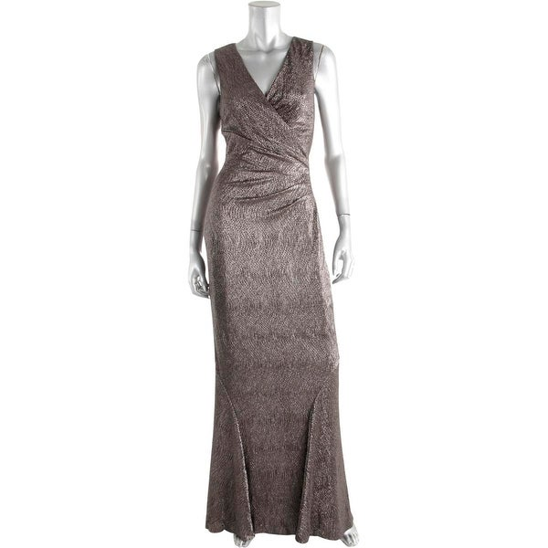 Ralph Lauren Womens Imalana Evening Dress Metallic Sleeveless