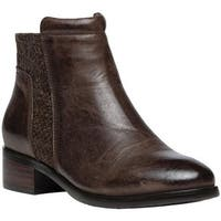Propet Women's Taneka Plain Toe Bootie Brown Full Grain Leather