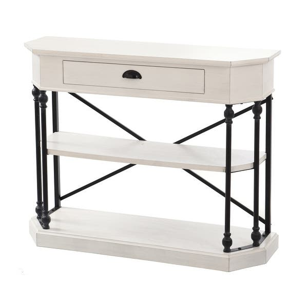 Stylecraft 3 Tier Single Drawer Antique White Clipped Corner Console Table Black Metal Frame Overstock 20730481