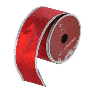 """Cranberry Red and Gold Merry Christmas Wired Christmas Craft Ribbon 2.5"""" x 10 Yards"""