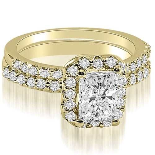 1.34 cttw. 14K Yellow Gold Emerald Cut Halo Diamond Bridal Set