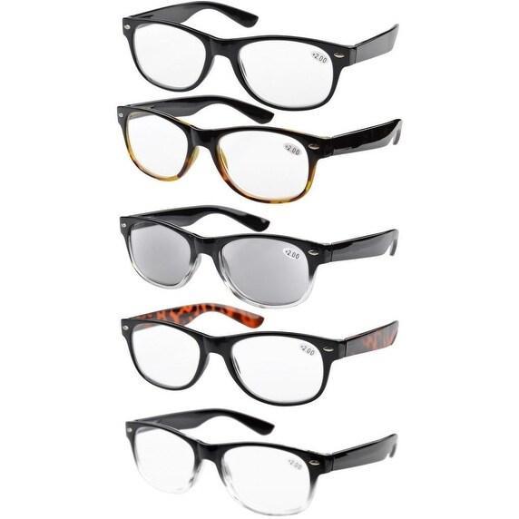 Eyekepper 5-pack Spring Hinges 80's Acetate Reading Glasses Includes Sun Readers +1.50