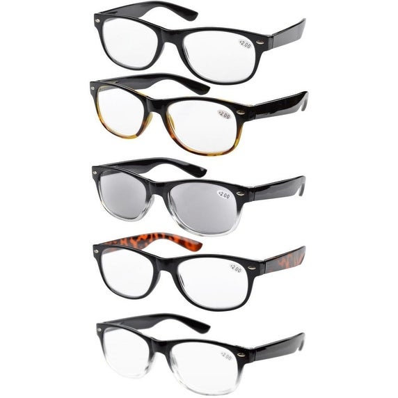Eyekepper 5-pack Spring Hinges 80's Acetate Reading Glasses Includes Sun Readers +4.00