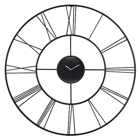 Modern Tower 45 inch Oversized Metal Black Roman Numeral Wall Clock