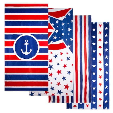 Outdoor Living Patriotic Beach Towel 4 Pack Set in Variety Stars, Stripes, Anchor, Flag