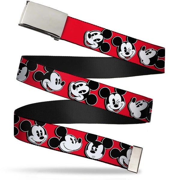 """Blank Chrome 1.0"""" Buckle Mickey Mouse Expressions Red Black White Webbing Web Belt 1.0"""" Wide - S"""