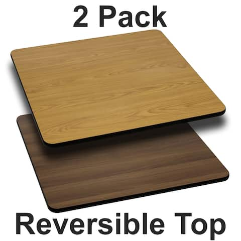 "2PK 42"" Square Table Top with Black or Mahogany Reversible Laminate Top"