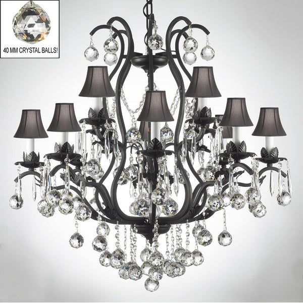 Swarovski Elements Crystal Trimmed Wrought Iron Chandelier Lighting With Faceted
