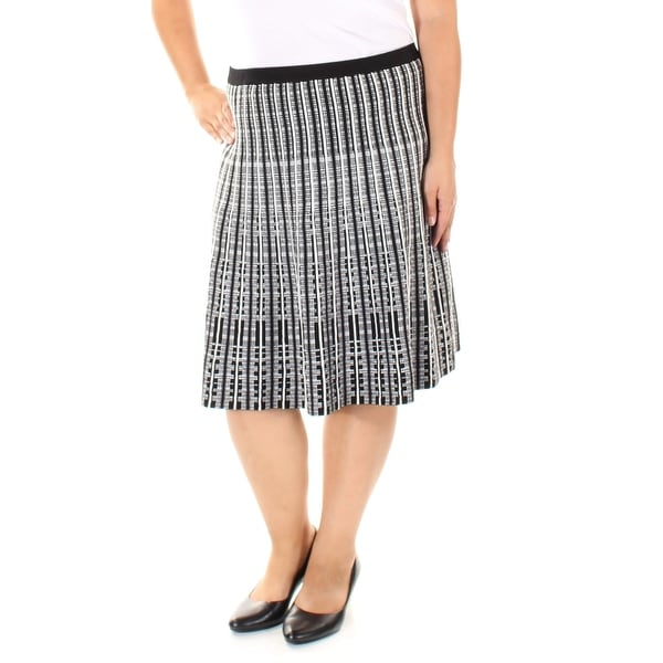 d834e45510fd9d Shop ANNE KLEIN Womens Black Printed Below The Knee Pleated Wear To Work  Skirt Size: M - On Sale - Free Shipping On Orders Over $45 - Overstock -  24019892