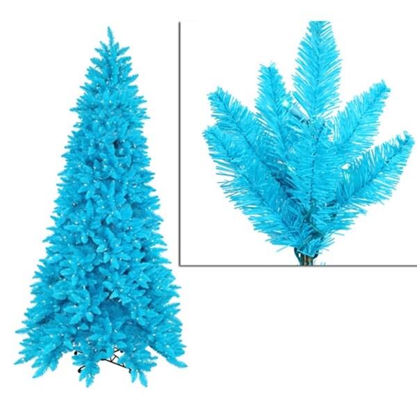9' Pre-Lit Slim Sky Blue Ashley Spruce Christmas Tree - Clear & Blue Lights