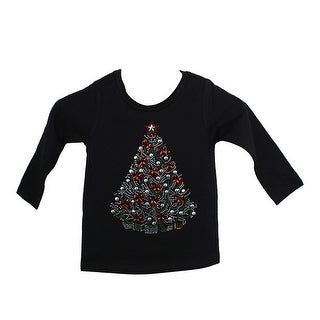 Baby Girls Black Red Christmas Tree With Bows Cotton Christmas Shirt 6-12M