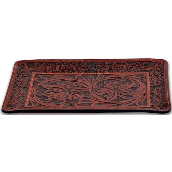 "3D Western Valet Tray Floral Tooled Leather 11"" x 8 1/2"" Tan HD103"