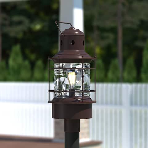 Hyannis 1L Bronze Coastal Outdoor Post Light Clear Glass - 10-in W x 23-in H x 10-in D