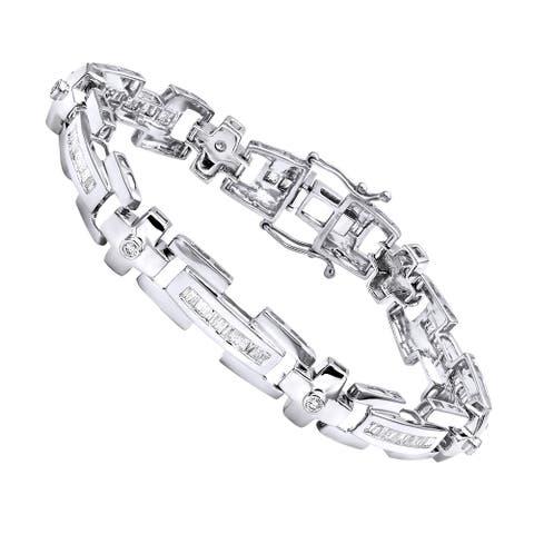 Mens Round Diamond Bracelet 1.95ctw in 14k Gold by Luxurman