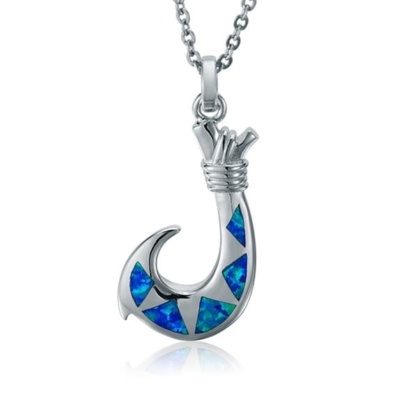 """Fish Hook Necklace Opal Sterling Silver Pendant 18"""" Chain"""