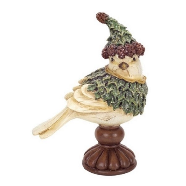 "6.5"" Right Facing Holly Bird with Hat on Pedestal Christmas Figurine Decoration"