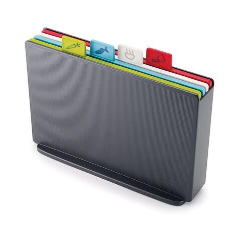 Joseph Joseph 60132 Index Plastic Cutting Board Set with Storage Case Color-Coded Dishwasher-Safe Non-Slip, Small, Graphite