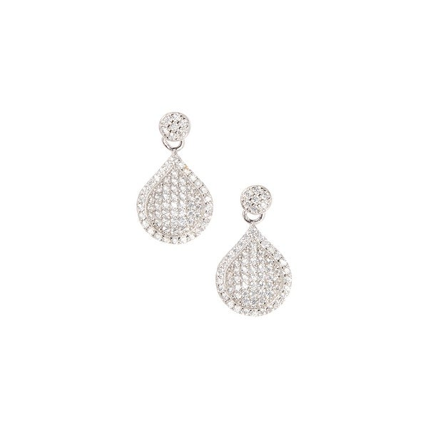 925 Sterling Silver Stud Drop Earrings with Cubic Zirconia