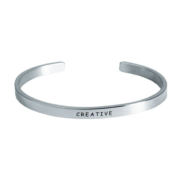 """Women's """"I Am"""" Engraved Stainless Steel Stacking Bangle Bracelet  - Creative - Silver"""