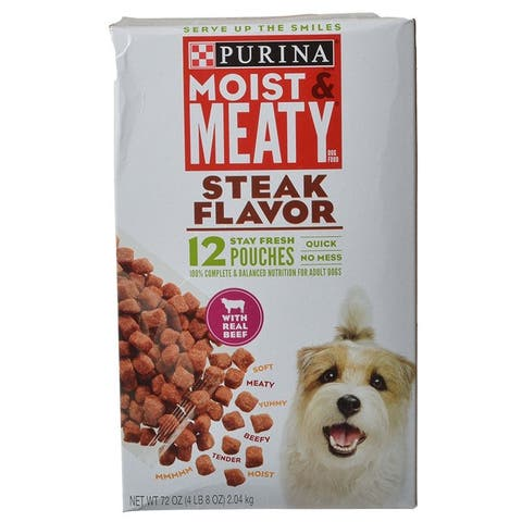 Purina Moist & Meaty Wet Dog Food - Steak Flavor 72 oz
