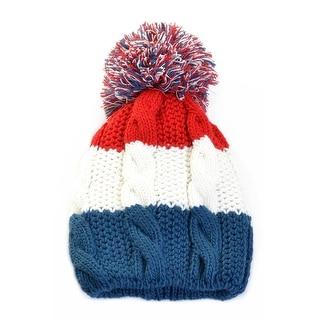 Big Pom Pom Beanie Hat Colorblock Lined Wool