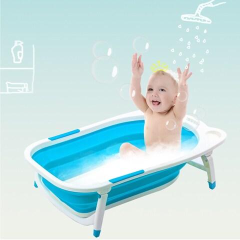 Gymax Blue Baby Folding Bathtub Infant Collapsible Portable Shower Basin w/ Block