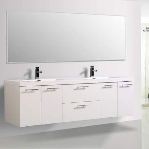 Alma Luxury 72-inch Glossy White Wall Mount Double Sink Vanity
