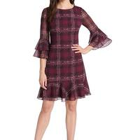 Jessica Howard Purple Womens Size 10 Plaid Ruffle Sheath Dress