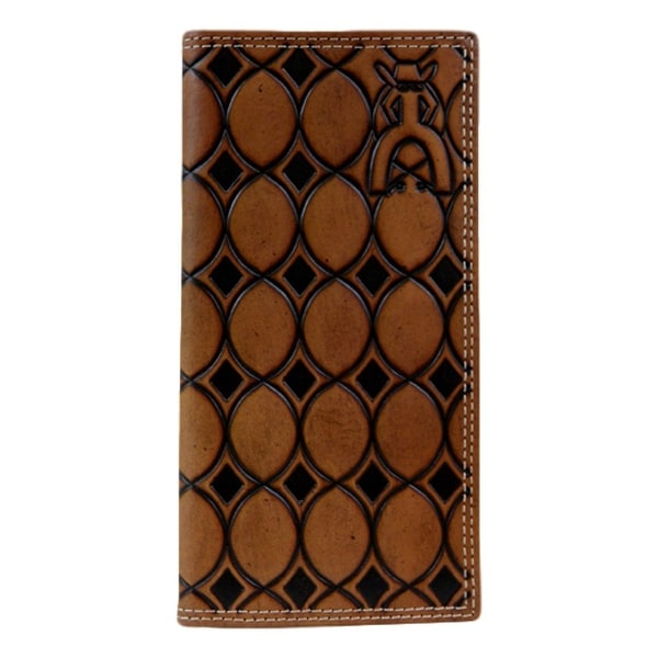 HOOey Western Wallet Mens Rodeo Tooled Slots Punchy Chestnut - 3 1/2 x 3/4 x 7