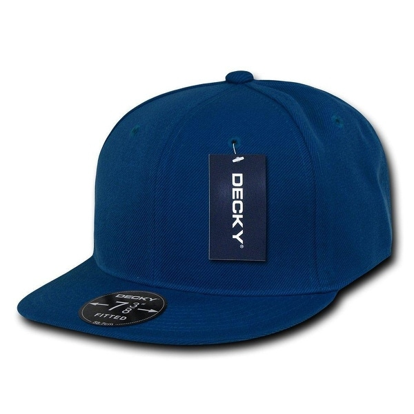 Shop Plain Round Flat Bill Structured Baseball Cap Fitted Hat - Blue ... 229767ac3e66