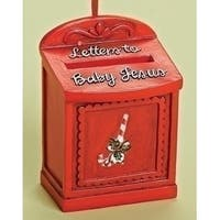 """3.5"""" Red """"Letters to Baby Jesus"""" Mailbox with Candy Cane Christmas Ornament"""