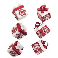 "Pack of 6 Decorative Indoor Red White Snowflake Dangling Gift Box Christmas Ornaments 13""H"