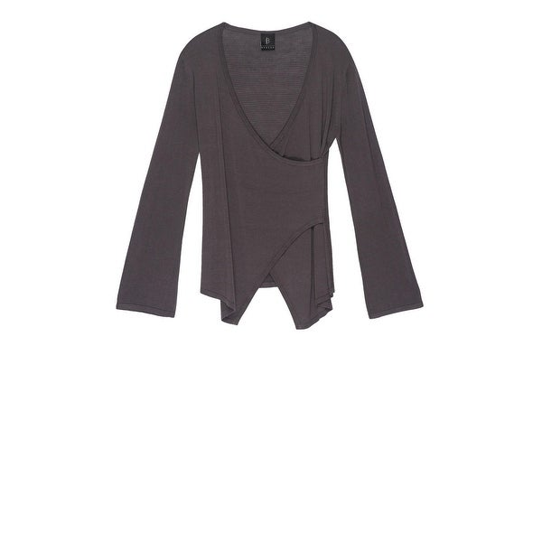 Bobeau Crossover Sweater with Flare Sleeve