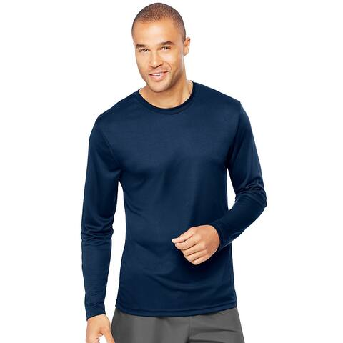 Hanes Cool DRI® Performance Men's Long-Sleeve T-Shirt - Size - M - Color - Navy