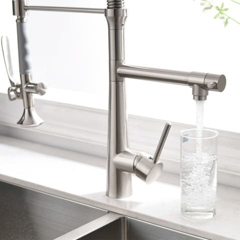 Pull Down Kitchen Sink Faucet with Sprayer Brushed Nickel