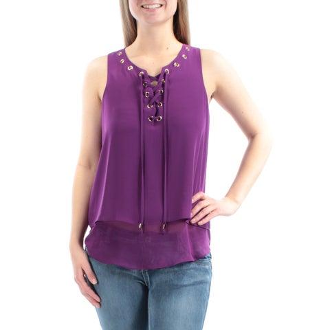 INC Womens Purple Eyelet Sleeveless V Neck Top Size: 12