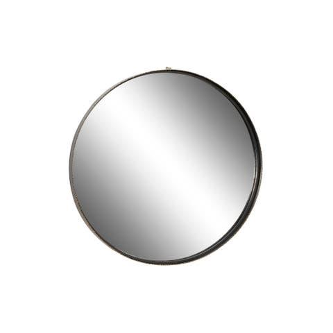 "Large Round Metal Wall Mirror w Metallic Gold Textured Trim 32"" x 32"" - 32 x 2 x 32Round"