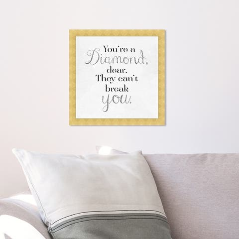 Oliver Gal 'You're A Diamond' Typography and Quotes Framed Wall Art Prints Love Quotes and Sayings - Black, White
