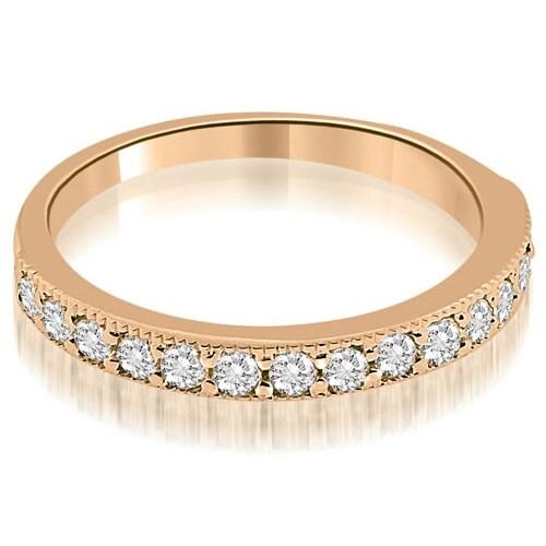 0.45 cttw. 14K Rose Gold Classic Milgrain Round Cut Diamond Wedding Band