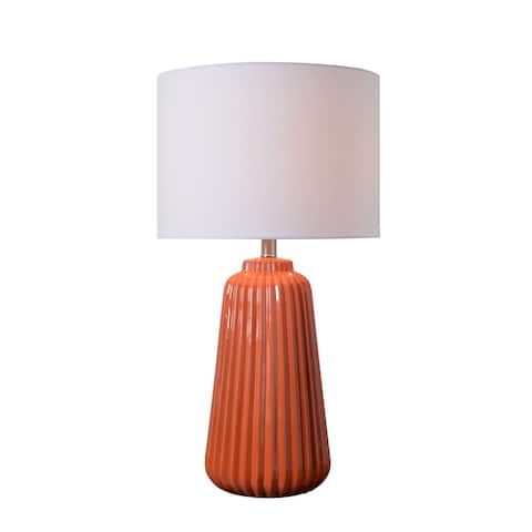 "Nico 26.75"" Glossy Orange Ceramic Table Lamp"