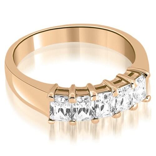 1.60 cttw. 14K Rose Gold Prong Set Emerald Cut Diamond Wedding Band