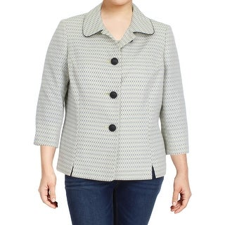 Le Suit Womens British Isles Blazer Tweed Textured
