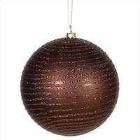 Chocolate Brown Glitter Stripe Shatterproof Christmas Ball Ornament