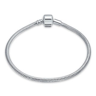 925 Sterling Silver Starter Snake Chain Bracelet For Women Barrel Clasp Fits European Beads Charm 6.5 7 7.5 8 8.5 9 Inch