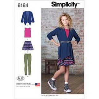 8-10-12-14-16 - Simplicity Girls' And Girls' Plus Skirt And Knit Top; Cardig