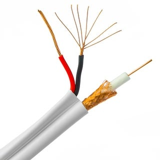 Offex Bulk RG59 Siamese Coaxial/Power Cable, 18/2 (18 AWG 2 Conductor) Stranded Copper Power, Pullbox, 500 foot