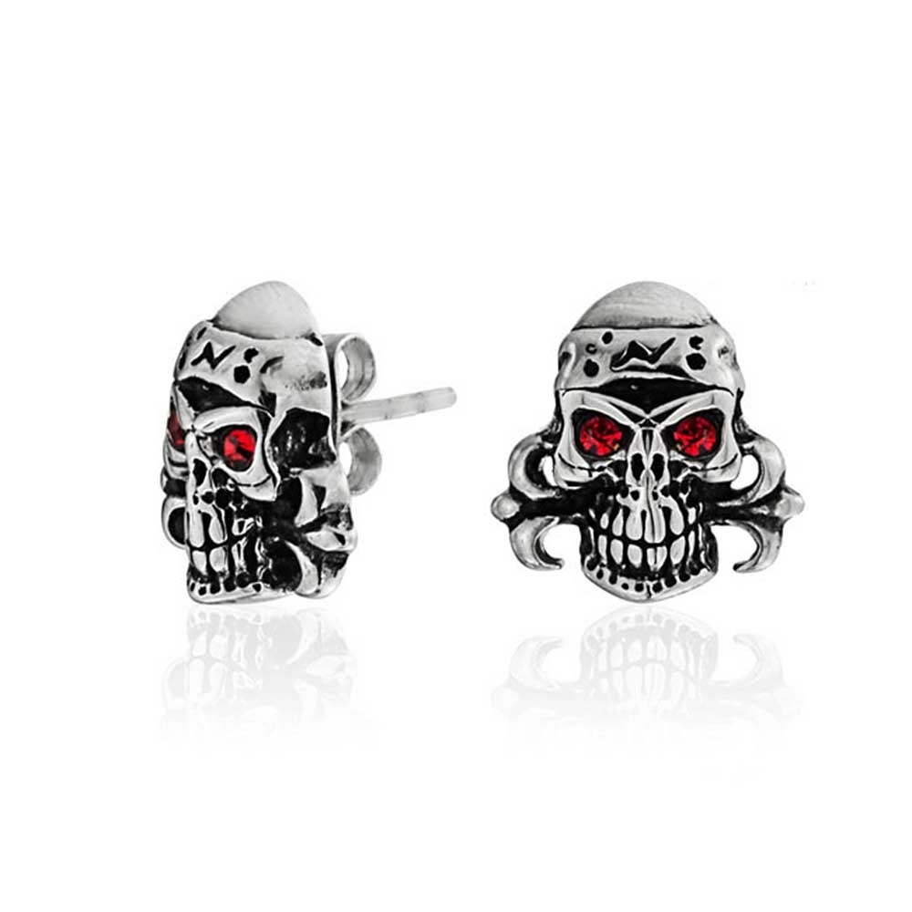 Caribbean Pirate Skull Red Crystal Eyes Stud Earrings For Men Women Silver Tone Black Oxidized Stainless Steel