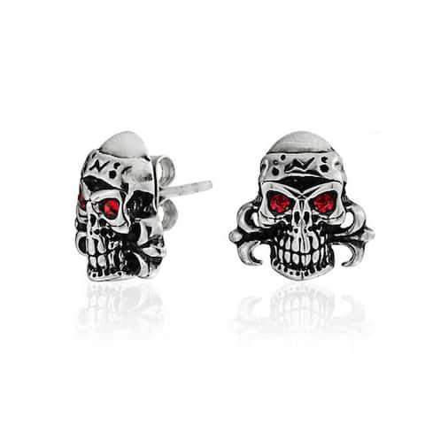 Caribbean Pirate Skull Red Eyes Stud Earrings Black Stainless Steel
